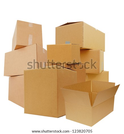 Packing of Carton boxes - stock photo