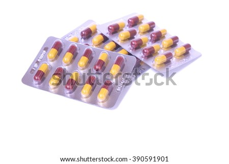 packing of pills and capsules of medicines - stock photo