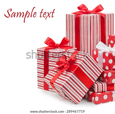 Packing. Striped box with a bow isolated on a white background. - stock photo
