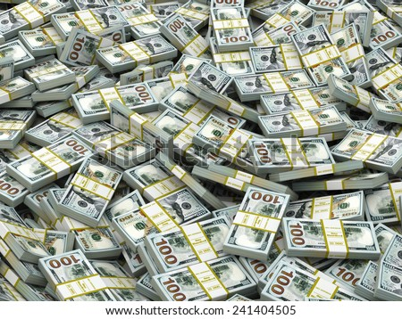 Packs of dollars Background. Lots of cash money. 3d - stock photo