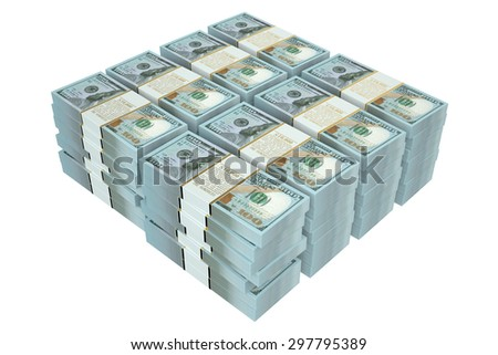 packs of dollars closeup  isolated on white background