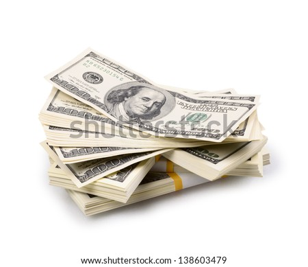 packs of dollars isolated on a white background - stock photo