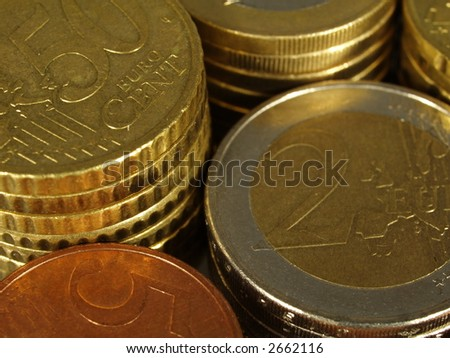 Packs of Euro coins of different values