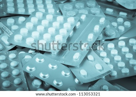 Packs of pills. - stock photo