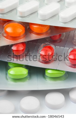 Packs of pills, abstract medical background - stock photo