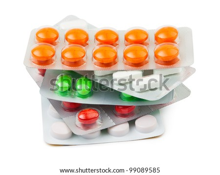 Packs of pills isolated on white background - stock photo