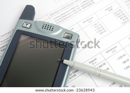 PAD and business report - stock photo