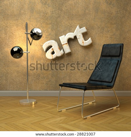 Pad chair and retro lamp in minimalist setting (3D render) - stock photo