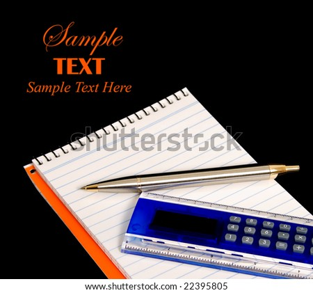 Pad, pen and calculator ruler over black background with copy space for text