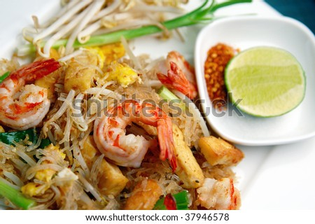 Pad thai, Fired noodle with shrimp - stock photo