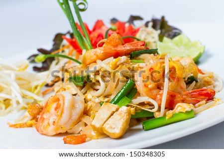 Pad Thai Koong dish of stir fried rice noodles - stock photo