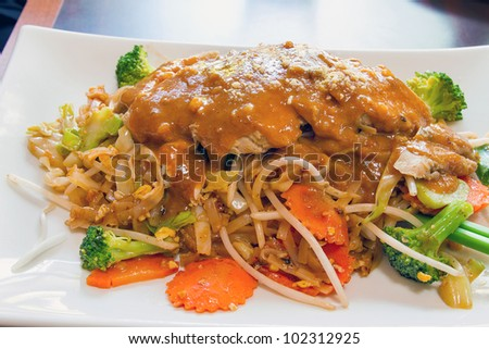 Pad Thai Noodles with Lemongrass Grilled Chicken and Peanut Sauce Dish ...