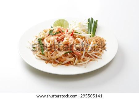 Pad Thai shrimp - stock photo