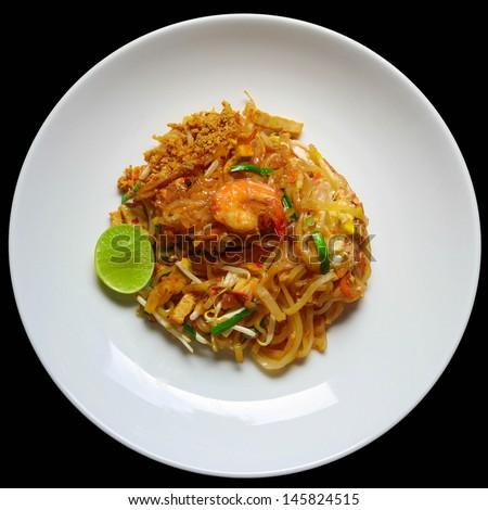 Pad Thai, stir-fried rice noodles, is one of Thailand's national main dish - stock photo