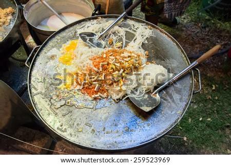 Pad Thai stir-fried rice noodles,Stir fry noodles with shrimp - stock photo