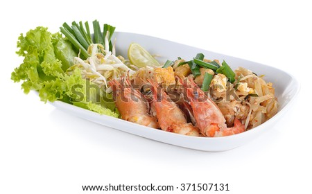 Pad thai ; Thai food isolated on white background.