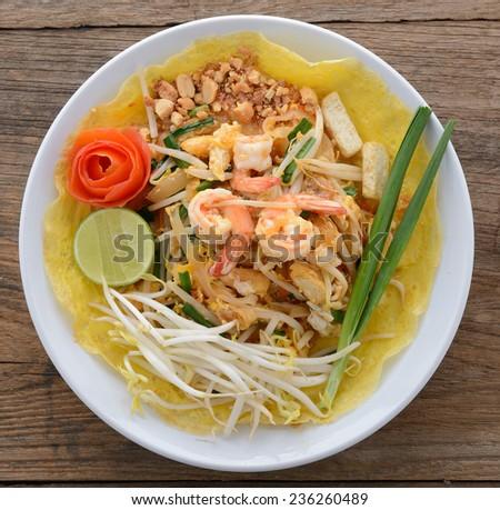 pad thai. Thai style noodles  - stock photo