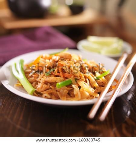 pad thai with chicken dish - stock photo