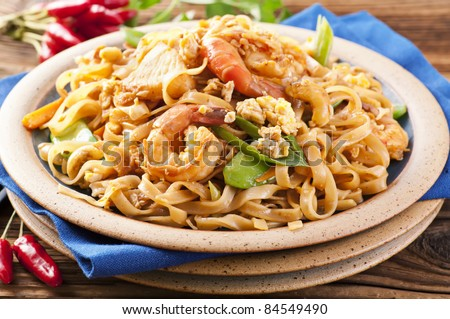 Pad Thai with shrimps and eggs - stock photo
