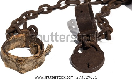Padded old chains, or shackles with padlock, used for locking up prisoners or slaves between 1600 and 1800.  - stock photo