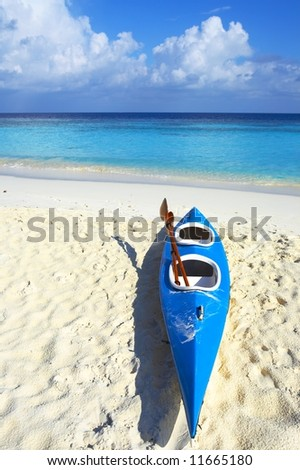 Paddle blue boat is on a sandy beach - stock photo