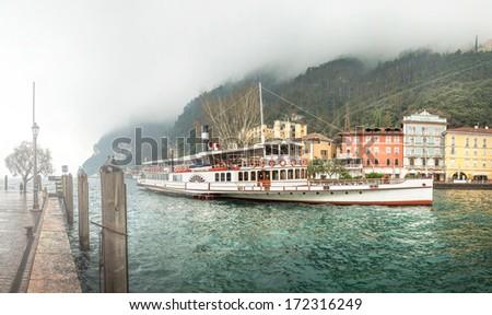 Paddle steamer at Riva del Garda, Italy - stock photo