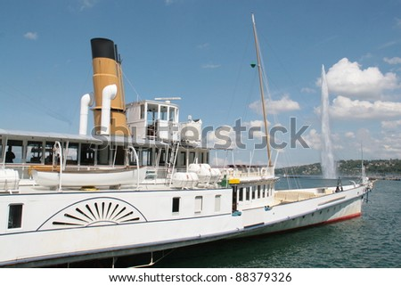 Paddle steamer Lake Geneva with sky and cloud background