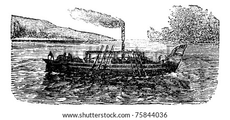 Paddle steamer or the steamboat experiment by John Fitch in 1786, USA, vintage engraving. Old engraved illustration of the steamboat experiment by John Fitch. - stock photo