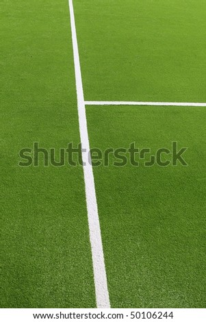 paddle tennis green grass field texture white lines - stock photo