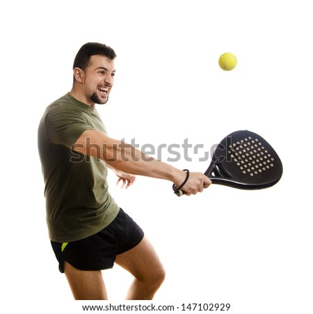 Paddle tennis hit.Isolated sportsman on white.