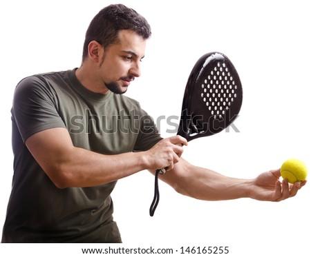 Paddle tennis player on white - stock photo