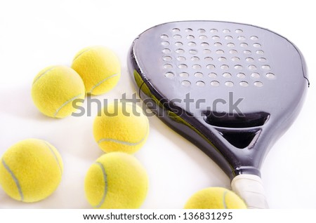 Paddle tennis still life. Isolated. - stock photo