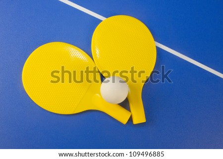 Paddles and PIng Pong ball - stock photo