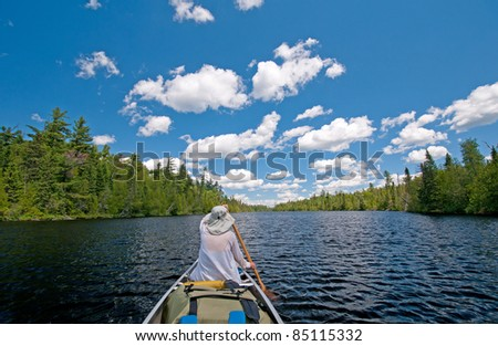 Paddling on Horseshoe Lake in the Boundary Waters - stock photo