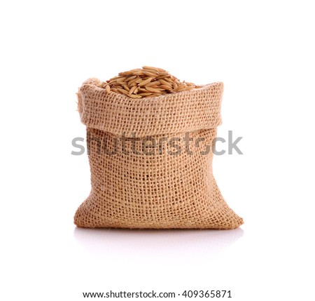 paddy rice in small burlap sack is on white background