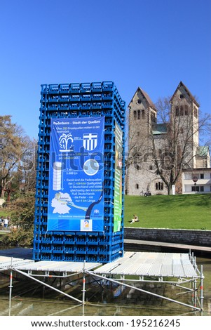 PADERBORN, GERMANY - MARCH 22: istallation showing the amount of water per second from the pader springs , World water day,  March 22, 2010 in Paderborn, Germany - stock photo