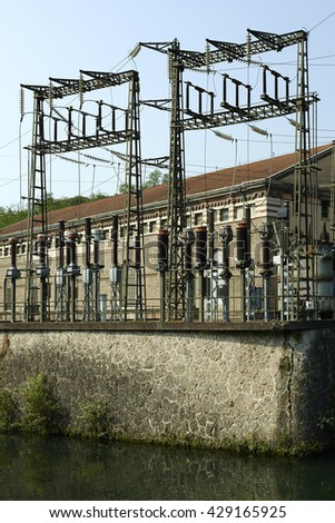 "Paderno d'Adda  (Mi), Italy, the old and historic hydroelectric power plant "" Angelo Bertini"", of 1906, on the river Adda"