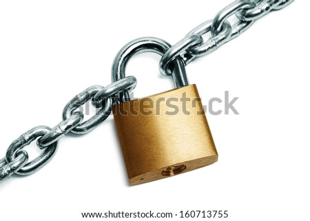 Padlock and chain - stock photo