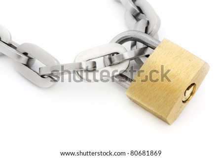 Padlock and chain isolated on white - stock photo