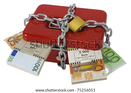 padlock and chain on cash box with euros - stock photo