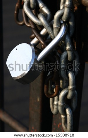 Padlock and chain security gate at a business
