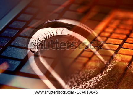 Padlock and computer keyboard. Security concept.  - stock photo