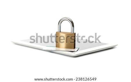 Padlock and credit card on tablet computer. E-commerce security concept. - stock photo