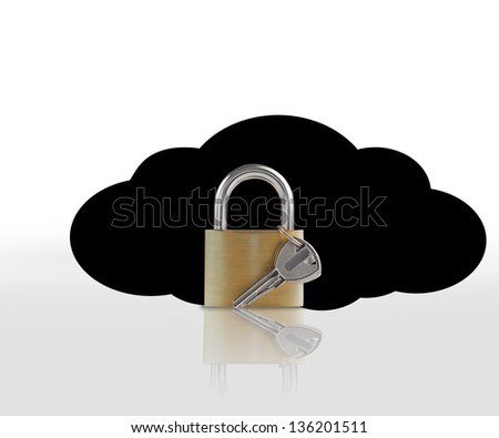 Padlock and key against black cloud on white background