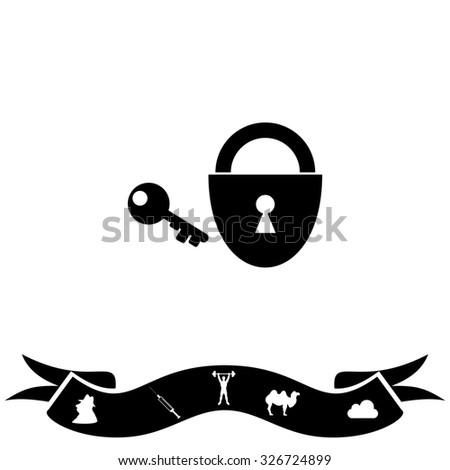 Padlock and key. Black flat icon and bonus pictogram with ribbon. Illustration symbol on white background - stock photo