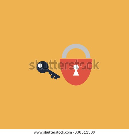 Padlock and key. Colored simple icon. Flat retro color modern illustration symbol - stock photo