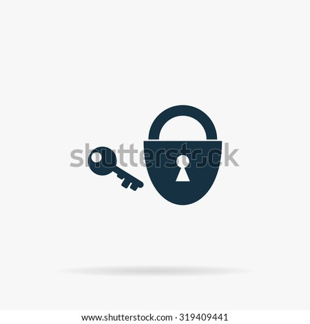 Padlock and key. Flat web icon or sign on grey background with shadow. Collection modern trend concept design style illustration symbol - stock photo