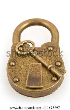 Padlock and key isolated on white background with clipping path