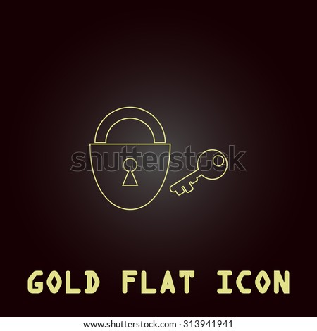 Padlock and key. Outline gold flat pictogram on dark background with simple text. Illustration trend icon - stock photo