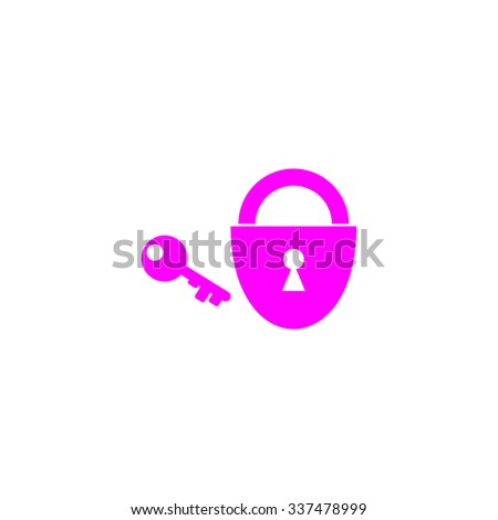 Padlock and key. Pink icon on white background. Flat pictograph - stock photo
